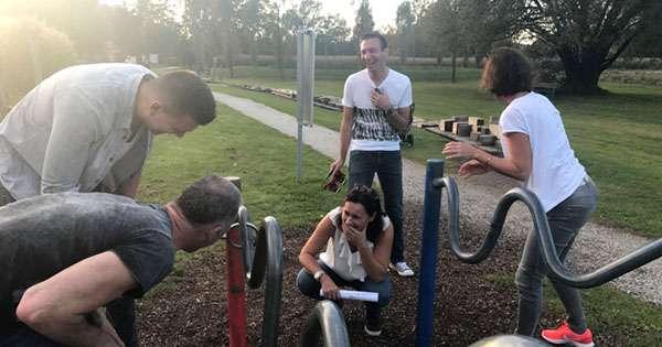 Team hat Spaß bei Teambuilding