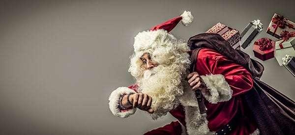 Weihnachtsmann kommt zur spät zur Weihnachtsfeier